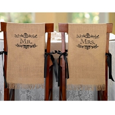 Lillian Rose Mr. and Mrs. Rustic Burlap Chair Covers