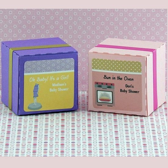 Personalized Girl Baby Shower Square Favor Labels (Set of 12)
