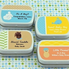 Personalized Boy Baby Shower Mint Tins (set of 15)