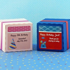 Personalized Birthday Square Favor Labels (Set of 12)