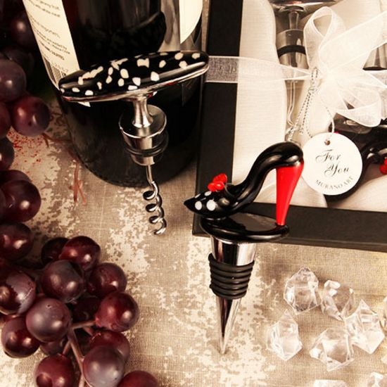 Bold in Black Murano Arte Shoe Stopper/Corkscrew