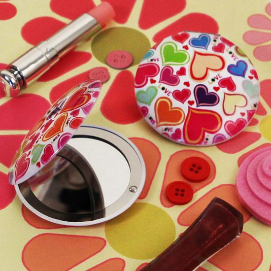Groovy Love Heart Shaped Compact Mirror