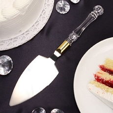 Crystal-Like Acrylic Handled Cake Server W/Gold Band