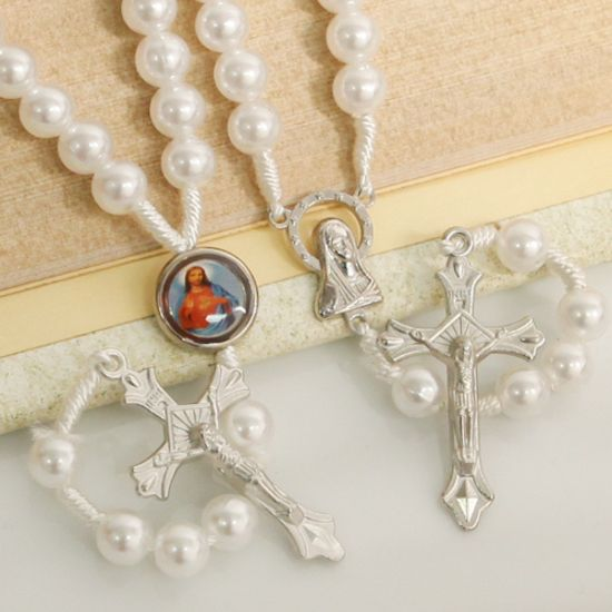 Prayer Beads White and Silver Rosary (Assorted)