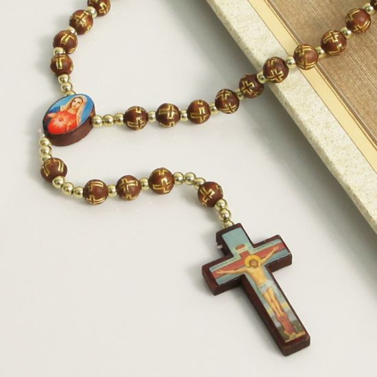 Prayer Beads Gold and Wood Rosary