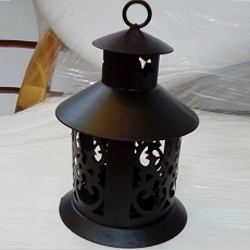 Black Steel Lantern W/Heart and Led Candle