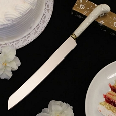 Porcelain Slicer Cake Knife w/Flowers