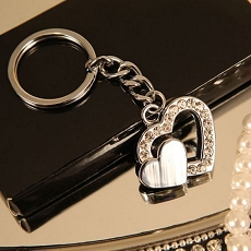 Two Hearts Heart Shaped Key Chain