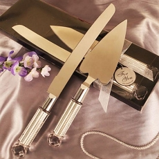 Dazzling Heart Shaped Cake Server/Knife Set-Silver