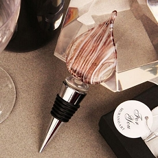 Teardrop Design Arte Murano Bottle Stopper/Taupe