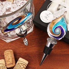 Blue Teardrop Arte Murano Corkscrew/Stopper Set