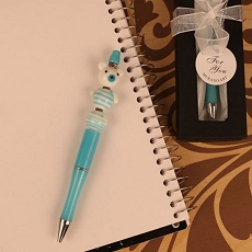 Blue Scribble Bears Arte Murano Glass Topped Pen