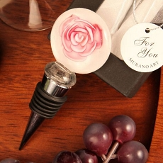 Pink Rose Round Arte Murano Bottle Stopper