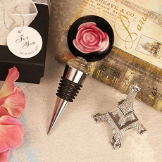 Pink/Black Rose Arte Murano Bottle Stopper