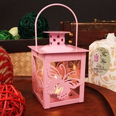 Pink Butterfly Steel Lantern W/Tea Light