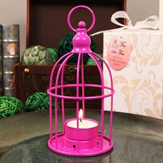 Hot Pink Bird Cage Steel Lantern W/Tea Light
