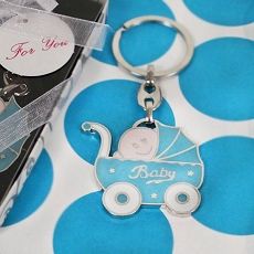 Bundle Of Joy Blue Baby Carriage Key Chain
