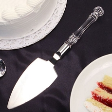 Crystal-Like Acrylic Handled Cake Server W/Silver Band