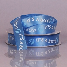 It's A Boy Blue Ribbon w/ White Print