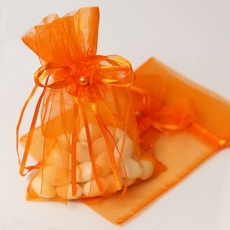 Organza Favor Bag w/Drawstring Ribbon & Flower  (3) (12 colors)