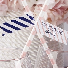 Personalized Party Straw Flags - Nautical Bridal -Kate Aspen