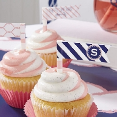 Personalized Party Straw Flags - Nautical Bridal