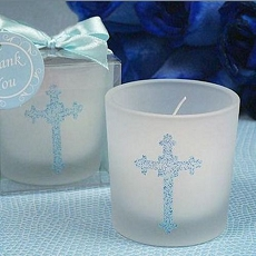 Blessed Events Cross Design Candle - Blue