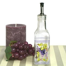 Small Oil Bottle w/Grapes Design