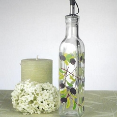 Small Oil Bottle w/Olives Design