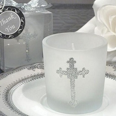 Cross Glitter Candle
