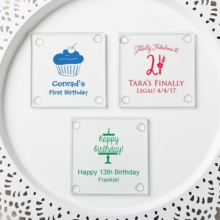 Personalized Glass Coasters - Birthday