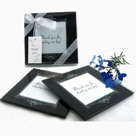Glass Photo Coasters in Black (Set of 2)