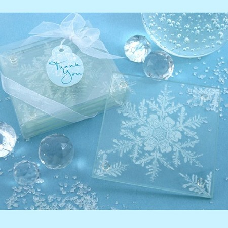 Snow Crystal Frosted Snowflake Glass Coasters (Set of 4)