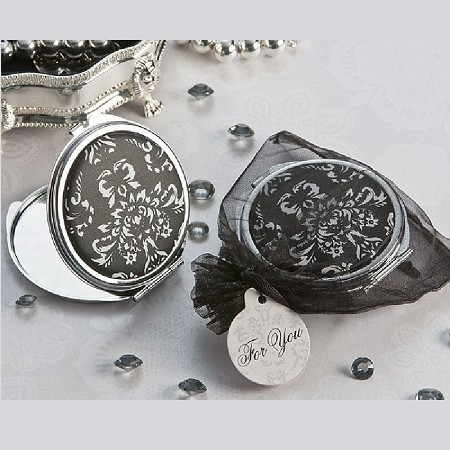 Diva in Damask Black and White Compact Mirror Favor