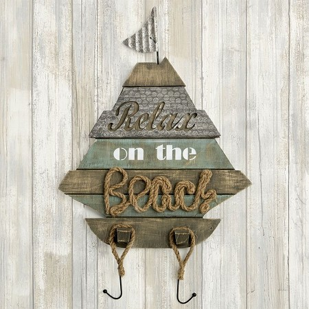 Boat Shaped Wall Sign - 'Relax On The Beach' -Fashioncraft