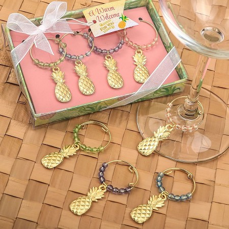 Tropical Gold Pineapple Wine Charms with Beads(Set of 4)