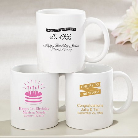 White Ceramic Coffee Mug-Birthday