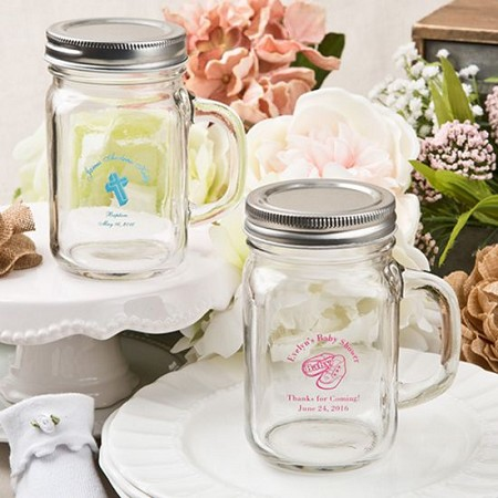 Personalized 12 ounce Glass Mason Jar/Screw Top - Baby