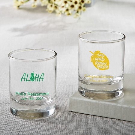 Personalized Shot Glass Or Votive  - Tropical Design
