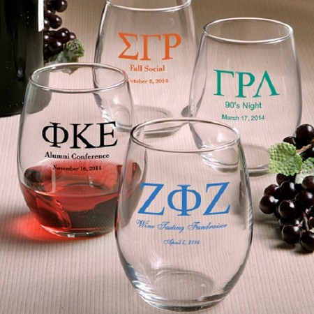Personalized Stemless Wine Glasses Greek