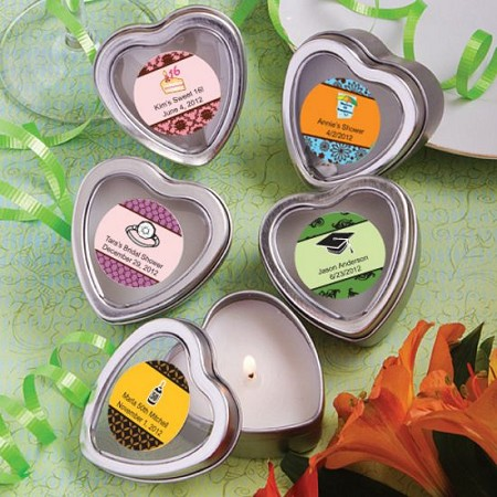 Personalized Scented Heart Travel Candles-Celebrate