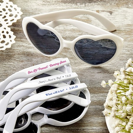 Personalized Heart Shaped White Sunglasses - Baby