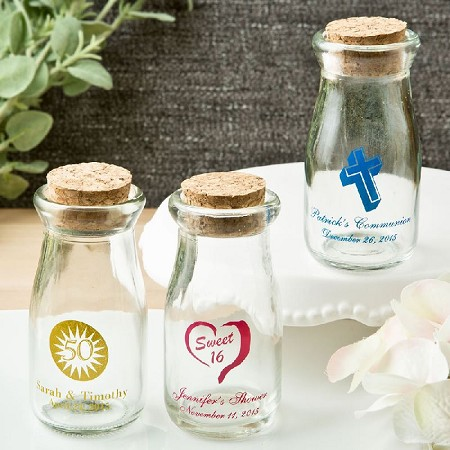 Personalized Vintage Milk Bottles w/Round Cork Top