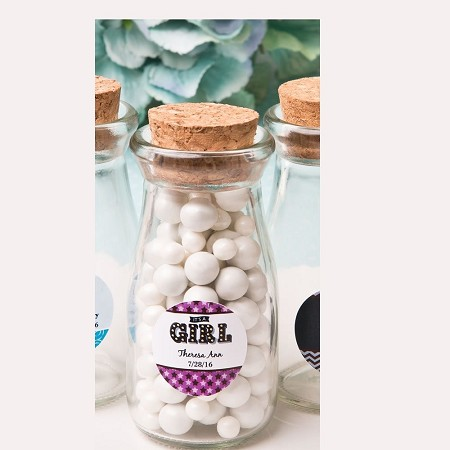 Personalized Glass Milk Bottle w/Round Cork Top-Baby
