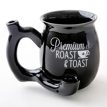 Premium Roast & Toast Single Wall Mug - Shiny Black With White Print