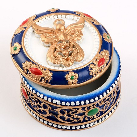 Angel Covered Box - Ornate With Gold Accents