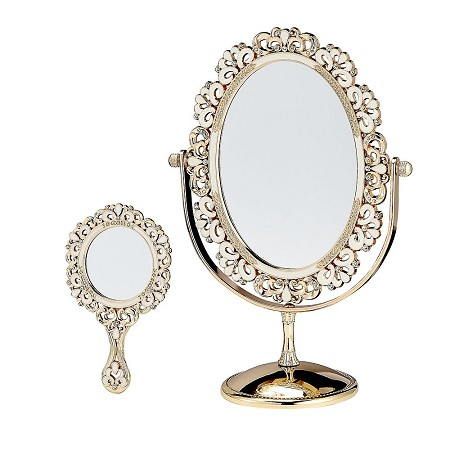 Deluxe Mirror Set Of 2  - Large Tilting Oval Mirror And Hand Mirror