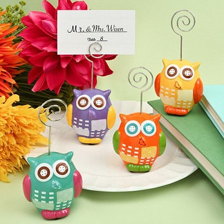 Hand Painted Ceramic Owl Place Card/Photo Holders