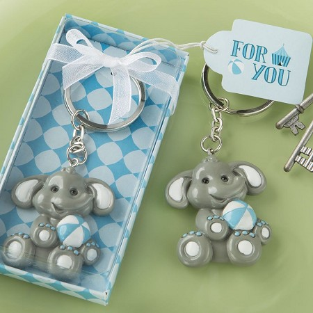 Adorable Baby Elephant With Blue Design Key Chain