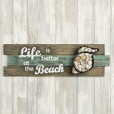 Shell Wall Sign - 'Life Is Better At The Beach' - Fashioncraft